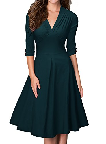 Miusol Damen 3/4 Arm Sommer Rockabilly Cocktailkleid Stretch Business Retro 50er Jahre Kleid Gruen...