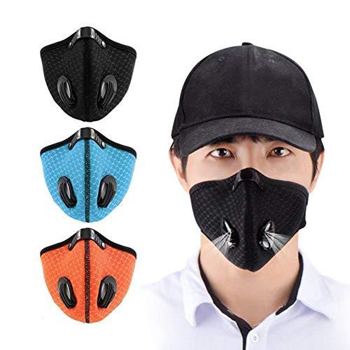 Parkomm - Maschera Antipolvere per Esterni, Traspirante, con Carbone Attivo per Corsa, Ciclismo, Sci e Altre attività all'aperto