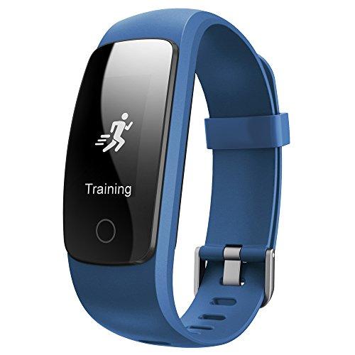Fitness Armband Juboury Fitness Tracker mit Pulsmesser Aktivitätstracker Schrittzähler SchlafMonitor Stoppuhr IP67 Wasserdicht FitnessUhr fitness Armbänder Android/iOS Phones (Blau)