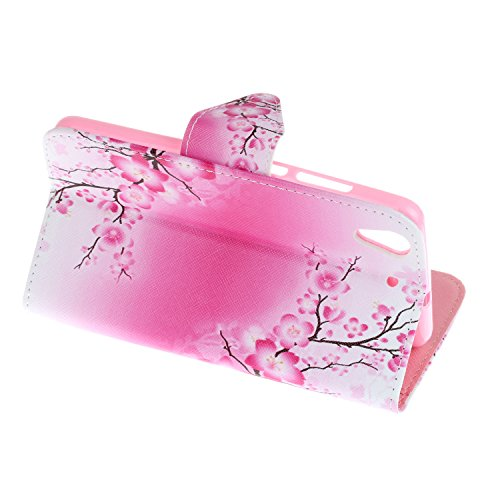 Honor 5A/Y6II Hülle,Honor 5A/Y6II Case, Honor 5A/Y6II Tasche Cozy Hut Handy Tasche Schutz Hülle im Bookstyle für Huawei Honor 5A/Y6II Wallet Case mit Standfunktion Schutzhülle mit Standfunktion Karten Plum Blume