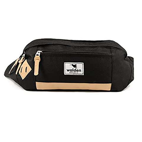 Outdoor fanny pack by Walden Co. | Black waterproof XL waist pouch for men & women with leather frame and anti-shock XXL pocket for smartphone / iphone. Ideal bumbag for travel, ski, hiking, festival.