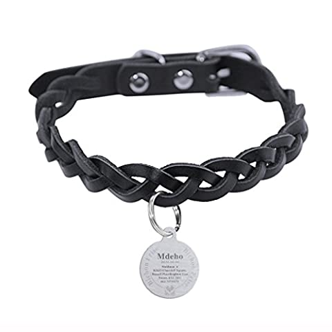 Personalized Black Braid Genuine Leather Dog Collar with Free Engraved Name ID Tag Pendant Pet Safety Collar Belt- With Adjustable Metal Buckle Collar for Small Medium Large Dogs