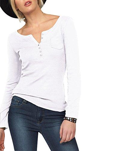 ELFIN Damen Langarmshirt Rundhals Leicht V-Ausschnitt Longsleeve T-Shirt Langarm Freizeit Oberteil Elegantes Stretchbar Henley Shirt Basic Tops, Weiß, L -
