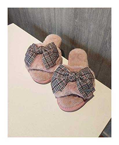 en Winter Home Hausschuhe Warm Anti-Slip Innen Soft Bequem Baumwolle Velours Bow Tie Boden Schuhe, 39-40, Rosa ()