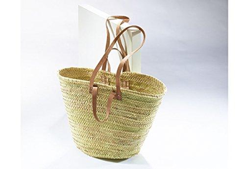 Einkaufstasche Ibiza, Korbtasche aus Palmblatt mit langen und kurzen Lederhenkeln