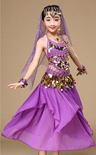 Tanz Produktion Kostüme (Kinder Indian Dance Dress Up Mädchen Tanz Kostüm Wettbewerb Lila / Pink / Rot / Blau / Gelb , m ,)
