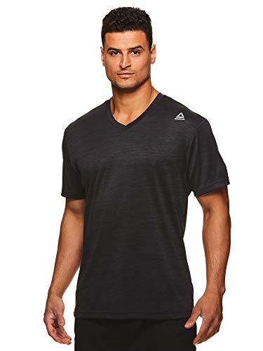 Reebok Men's V-Neck Workout Tee - Short Sleeve Gym & Training Activewear T Shirt -