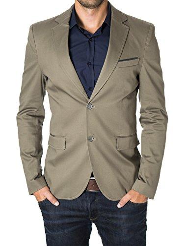 MODERNO - Slim Fit Business Herren Sakko Blazer (MOD14517B) Beige