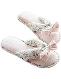 Fortuning's JDS Le donne delle ragazze delle signore del velluto Casa Pantofole elegante Fiocco rosa Flops flatform aperto Sandali dita dei