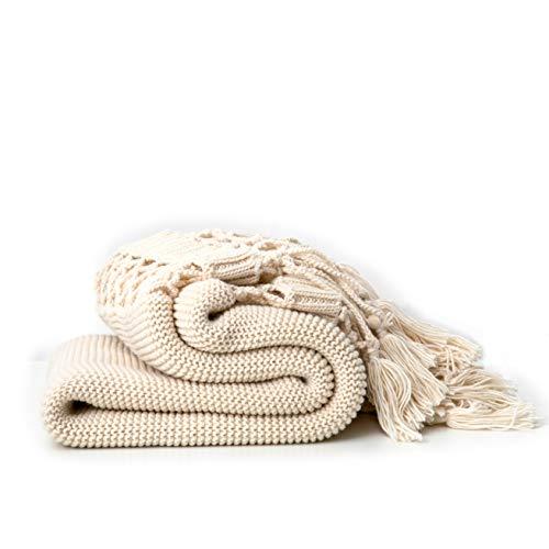 Handgestrickte Decken, Sofadecken, Foto Requisiten, Personalisierte Decke, Hohle Quaste Decken,Beige -