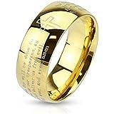 Tapsi's Coolbodyart®, anello a cupola in acciaio inox, dorato, con croce e preghiera