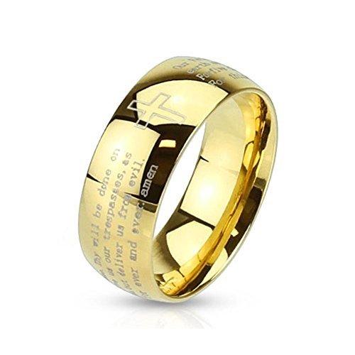 Tapsi´s Coolbodyart®|Dome Ring Edelstahl 6mm Breit Kreuz Vater Unser Amen Gold 57(18)