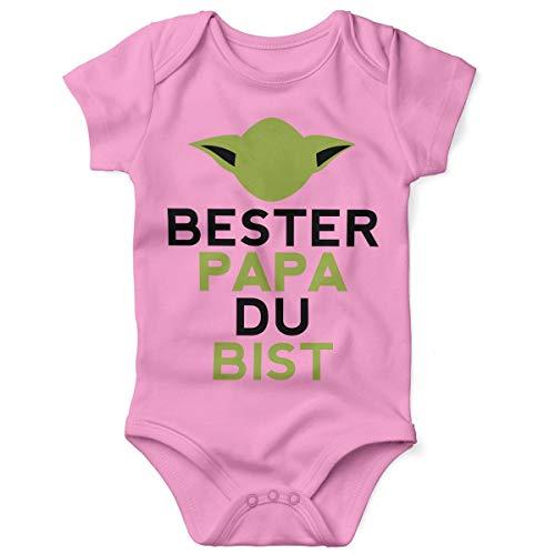 Mikalino Babybody mit Spruch für Jungen Mädchen Unisex Kurzarm Bester Papa Du bist | handbedruckt in Deutschland | Handmade with Love, Farbe:rosa, Grösse:62