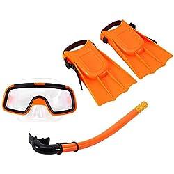 Kids Seaview Snorkel Set, Ensemble de plongée en silicone pour enfants avec ailerons en silicone, masque de plongée avec tuba et masque de plongée pour les enfants âgés de 3 à 4 ans (Orange)
