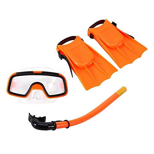Bnineteenteam Schnorchel-Set für Kinder, Schnorchel-Pakete für Kinder im Alter von 3-4 Jahren mit Maske, Schnorchel-Scuba-Brille und Silikon-Flossen (Orange)