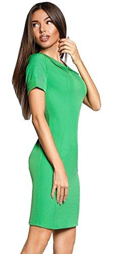 DD UP Damen Mini Slim Wickelkleid Kurzarm-beiläufige T-Shirt-Kleid Green