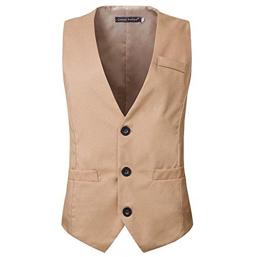 MENGZHEN 1 Stück Herren formelle Slim Fit Premium Business-Kleid Anzug Knopfleiste V-Ausschnitt Weste Gentleman Design Casual Weste Business Suit Weste, Khaki, m