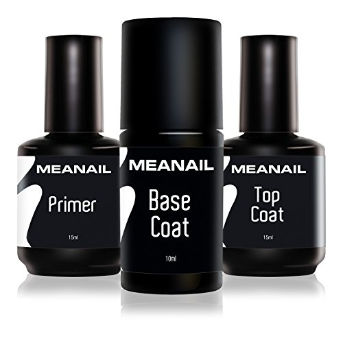 MEANAIL Primer Base e Top Coat Semipermanente • Primer Unghie Gel Base Coat e Top Coat per Smalto Semipermanente e Gel UV • Tre Flaconi 40 ml • Norme CE Europee