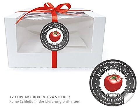 12 CUPCAKE PATISSERIE BIO BOXEN + 24 AUFKLEBER: 12 Geschenk-Boxen