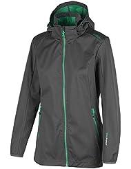 Campagnolo–Tiempo libre Senderismo Mujer (Softshell), capucha fija gris turquesa, color asfalto, tamaño 36