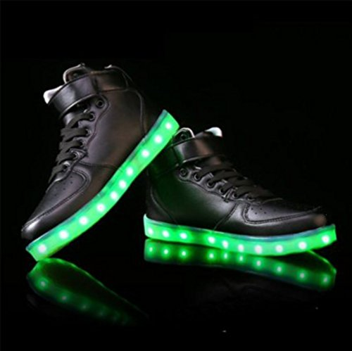 [Présents:petite serviette]JUNGLEST - 7 Couleur Mode Unisexe Homme Femme USB Charge LED Lumière Lumineux Clignotants Chaussures de marche Chaussures de Sports Basket noir 1