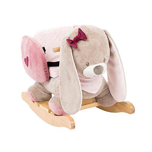 Nattou Schaukeltier ab 1 Jahr mit Gurt, Mädchen, rosa - Nina das Kaninchen