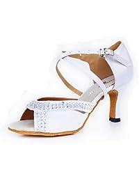 FJY&WX Mujer Latino Seda Tacones Alto Interior Cristal Hebilla Tacón alto Blanco Personalizables , us8.5 / eu39...