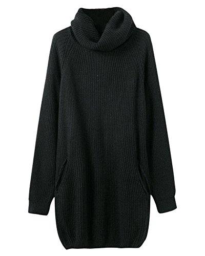 Donna Maglione Vestito Allentato Alta Colletto Lunga Maglia Maglioni Knitted Pullover Beige Taglia Unica Nero