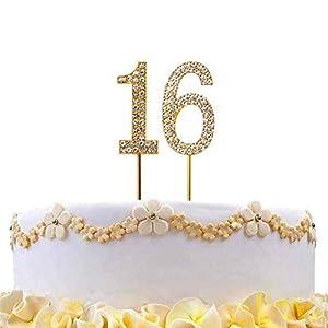 Gifts 4 All Occasions Limited SHATCHI-807 - Decoración para tarta (número 16, diamante, oro, cumpleaños, aniversario, fiesta)