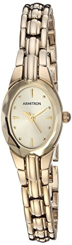 Armitron Women's 75/3313CHGP Oval Faceted Wall-to-Wall Crystal Gold-Tone Bracelet Watch