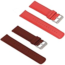 Turnwin for Fossil Q Nate Gen 2 Hybrid Straps Wristbands, 2pcs Replacement Leather Bands for Fossil Q Nate Gen 2 Hybrid Only (Brown+Red)