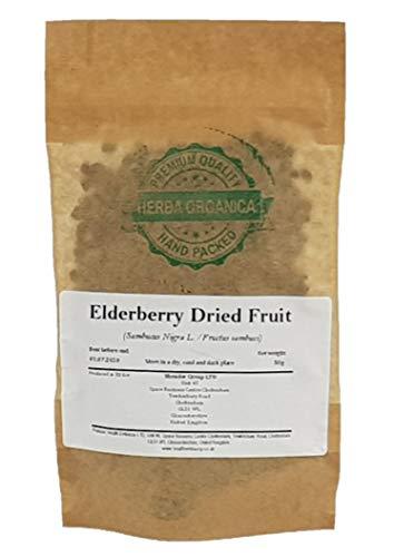 Holunderbeeren Getrocknet/Sambucus Nigra L/Elderberry Dried Fruit # Herba Organica # Schwarze Holunder, Holder, Holler, Flieder (50g)