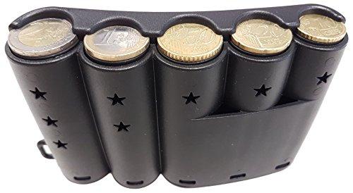 CLAIRE-FONCET Münzhalter, rund für 5-Euro-Hauptmünzen, Münzspender in kurviger Form zum Festmachen am Gürtel. Ideal für Kellner, Kellnerin, Taxifahrer, Busfahrer, Verkäufer, Straßenhändler, Märkte