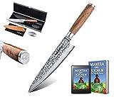 adelmayer® -Profi Damastmesser 20cm extrem scharfe Klinge aus japanischem Damaststahl mit Walnussgriff und Wildledertuch