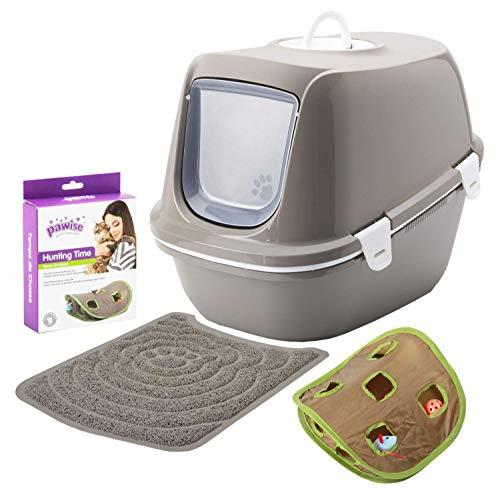 PETGARD Sparpaket Katzentoilette Reina mit Sieb + Vorlegematte + gratis Katzenspielzeug warmgrey-Weiss