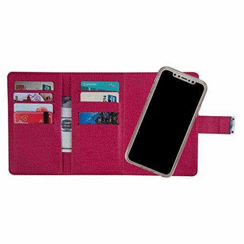 inShang Hülle für iPhone X 5.8 inch mit mit Brieftasche 2-in-1 Design, Brieftasche abnehmbar, iPhoneX 5.8 inch cover case mit Standfunktion. rose