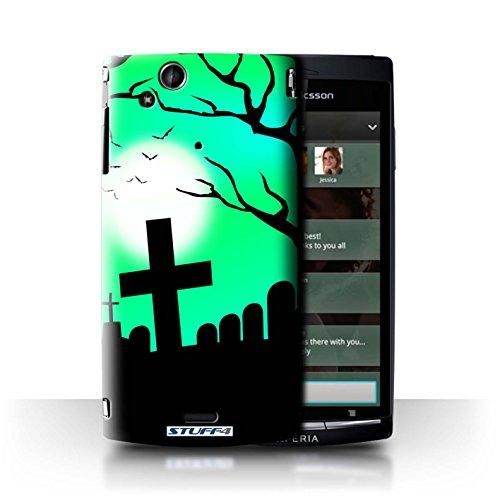 le für Sony Xperia Arc S/LT18i / Unheimlich Friedhof Muster / Halloween Szene Kollektion (Friedhof-kuchen Halloween)