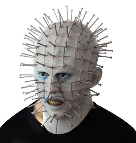 Latex Gummi Gruselig Gesicht Maske Hellraiser Film Mask Schrecklich Gesichtsmaske Horror Halloween Mask für Halloween Karneval Kostüm Fasching (Für Beliebtesten Die Kostüme Erwachsene Halloween)
