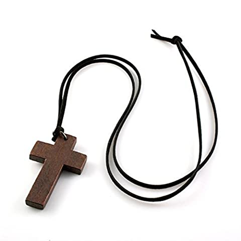 Jovana Fashion Ancient Cute Wooden Christian Religous Cross Necklace Pendant by JOVANA