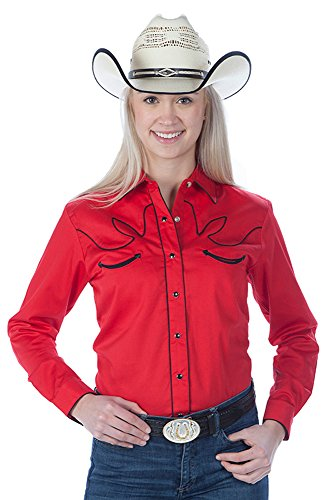 Shirt Western Womens Red (Women's Cotton Retro Western Cowboy Shirt-Red-XL)