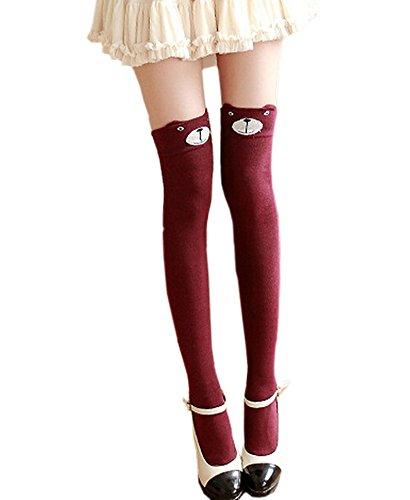 ECHERY las Mujeres Chicas Lindas de dibujos animados de Animales Sobre los Calcetines de La Rodilla Vestido de Fantasía de Alta del Muslo Mantenga Ups Medias de color Rojo Oscuro Oso