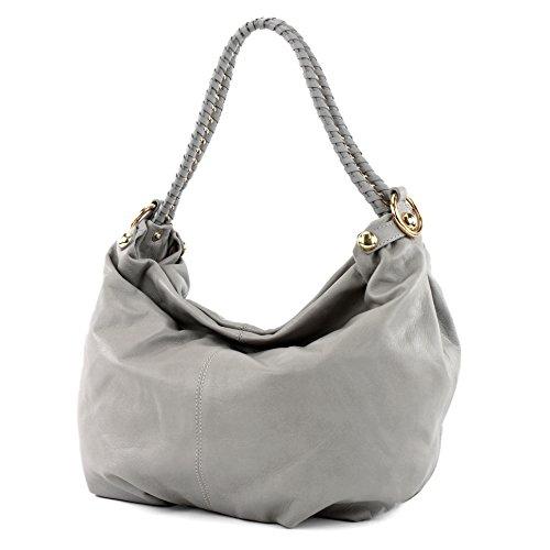 modamoda de - ital. Ledertasche Damentasche Schultertasche Damenhandtasche Nappaleder T62 Grau