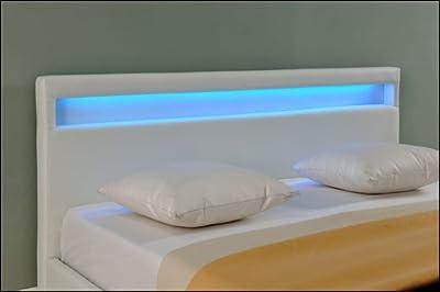 Corium - Cama acolchada en piel sintética con luces led (7 colores diferentes) (140   160   180   200 x 200cm)