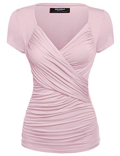 Zeagoo Damen Sexy V-Ausschnitt Kurzarm Tunika Blusen Oberteile Shirt mit Rüschen