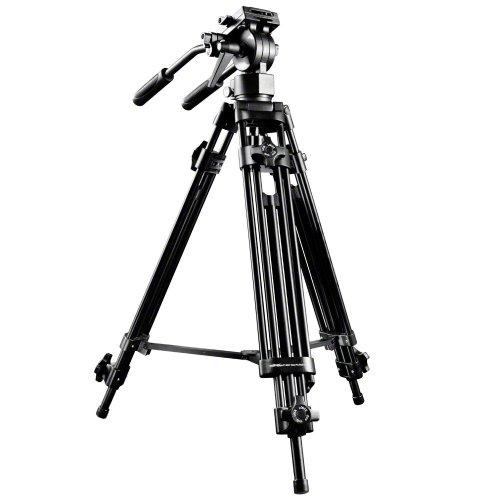 Walimex Pro EI-9901 Video-Pro-Stativ (max. Höhe 138 cm, Videoneiger, Mittelspinne, Belastbarkeit 6 kg und Stativtasche)