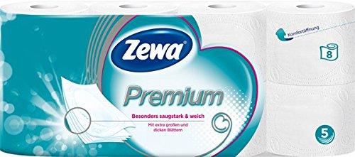 Zewa Premium Toilettenpapier 5-lagig (8 Rollen x je 110 Blatt)