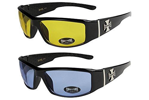 X-CRUZE 2er Pack Choppers 6608 X03 Sonnenbrillen Unisex Herren Damen Männer Frauen Brille - 1x Modell 12 (schwarz glänzend/gelb getönt) und 1x Modell 13 (schwarz glänzend/nur ganz gering blau getönt)