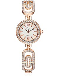 Aleación De Reloj De Cuarzo Diamante/Moda Rosa Reloj De Oro-Or Rose