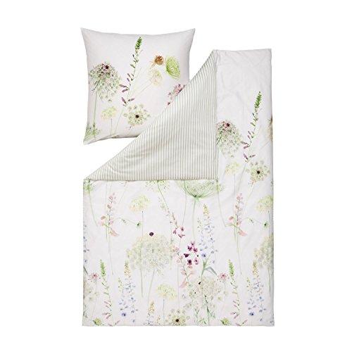 ESTELLA Mako-Satin Wendebettwäsche Meadow grün 1 Bettbezug 240 x 220 cm + 2 Kissenbezüge 80 x 80 cm -