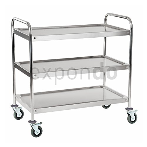 Royal Catering - RCSW-3R - Serving Trolley - roundtube profile - made from stainless steel - with 3 bases - 480 kg max. capacitykeit